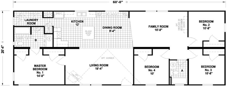 Caldwell 26 x 60 1580 sqft mobile home factory expo home for 14 x 60 mobile home floor plan